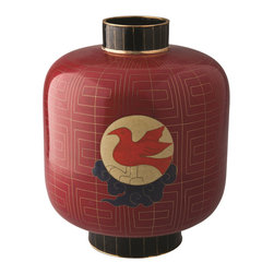 Piling Palang - Handmade Lantern by Piling Palang - Red lanterns are used in Chinese culture to celebrate during holidays and festivals. Bring the party and Asian appeal to your mantel, table or shelf with this lovely lantern-shaped vase. It's handmade cloisonné with bright red, gold and black enamel over metal with a central sun and bird symbol.