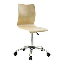 """LexMod - Fashion Office Chair in Natural - Fashion Office Chair in Natural - For those looking for an ultra-modern office chair, this design will not disappoint. Made with unconventional office chair materials, this chair is striking and provides a new seating experience. Set Includes: One - Plywood Swivel Office Chair in Natural Plywood Seat, Chrome Plated Steel Base, 360 Degree Swivel, Adjustable Height Overall Product Dimensions: 22""""L x 22""""W x 32 - 36""""H Seat Dimensions: 16""""L x 16 - 20""""H - Mid Century Modern Furniture."""