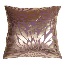 Pillow Decor Ltd. - Pillow Decor - Metallic Floral Violet Square Throw Pillow - Made from a durable, high quality fabric, this is the perfect throw pillow for any room in need of some colorful punctuation. The base fabric is a soft microfiber, while the floral shapes are a smooth reflective silver.