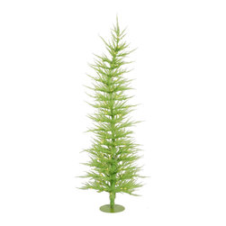 "Vickerman - Chartreuse Laser 100CL 889T (5' x 24"") - 5' x 24"" Chartreuse Laser Tree 100 Clear Mini Lights 889 PVC tips, with metal base."