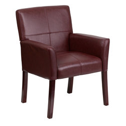 Flash Furniture - Flash Furniture Burgundy Leather Executive Side Chair or Reception Chair - Show off your sense of style with this elegantly designed side or reception chair. The contemporary styling of the chair provides a dramatic statement to your space. The inset stitching and high wood legs will appeal to everyone in every setting.