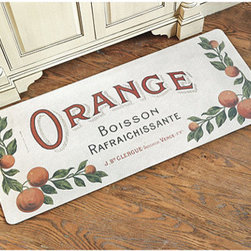 Ballard Designs - Orange Label Comfort Mat - Machine washable. Made in the USA. The colorful design is based on a vintage French orange drink label and makes a delicious addition to the kitchen. Its sponge rubber back helps reduce stress and strain while you're prepping and chopping or standing at the sink.Orange Label Comfort Mat features: . .