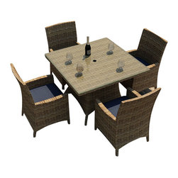 Forever Patio - Cypress 5 Piece Square Patio Dining Set, Spectrum Indigo Cushions - The Forever Patio Cypress 5 Piece Modern Outdoor Wicker Square Dining Set with Blue Sunbrella cushions (SKU FP-CYP-5SQDN-HR-SI) is the perfect setting for outdoor dining with style and comfort. The set seats 4 adults comfortably, and includes 4 dining Arm Chairs and a dining table with a glass top. This set features Heather resin wicker with a half round design that creates a complex and luxurious look. Every strand of this outdoor wicker is made from High-Density Polyethylene (HDPE) and is infused with its natural color and UV-inhibitors that prevent cracking, chipping and fading ordinarily caused by sunlight, surpassing the quality of natural rattan. The set is supported by thick-gauged, powder-coated aluminum frames that make it extremely durable and resistant to corrosion. Also included are fade- and mildew-resistant Sunbrella cushions. With its style, comfort and quality, it is hard not to love this wonderfully designed modern outdoor dining set.