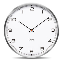 Leff Amsterdam - One35 Wall Clock - Stainless Steel White Arabic - Leff Amsterdam - The design of the one clocks is instantly classic; an iconic design recognized for its timelessness, quality and durability. The brushed stainless steel case combined with the back cover makes this clock feel solid and reliable. Inside, a precise japanese movement will indicate the right time.