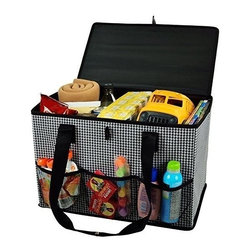 Picnic at Ascot - Collapsible Home & Trunk Organizer, Houndstooth by Picnic at Ascot - Our Collapsible Home & Trunk Organizer in Houndstooth by Picnic at Ascot is great for keeping toys, groceries, gear, supplies secure. With covered top and carry handles you can now easily trasnport the organizer from home to auto or from room to room.