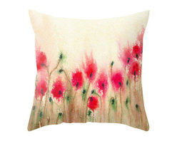 Brazen Design Studio - Decorative Pillow Cover - Field of Poppies - Floral Throw Pillow Cushion, 16x16 - Liven up your space with a fine art pillow cover featuring my original artwork! This listing is for one pillow cover featuring my vibrant watercolor painting, on 100% spun designer polyester poplin fabric, a stylish statement to brighten up any room.