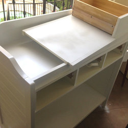 Baby Changing table makeover - Before photo of Pottery Barn Ultimate changing table Makeover- strip, sand and re-paint.