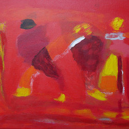 """Four Figures"" (Original) By Marino Chanlatte - Abstract Painting Depicting Four Figures In Red With A White Line Indicating Some Kind Of Relationship. You Can Tell More..."