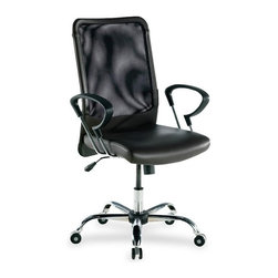 Lorell - Lorell 86000 Series Executive Mesh Swivel Chair - Leather Black Seat - Mesh Back - Executive high-back chair features a rich leather seat with mesh back. Functions include pneumatic seat-height adjustment, 360-degree swivel, tilt and tilt tension. High-back chair has a chrome-plated five-star aluminum base. Meets the CA117 fire-retardant standard.