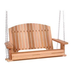 All Things Cedar 4-ft. Pergola Cedar Porch Swing - Additional featuresArched backrest features vertical slats Fully rounded corners for a smooth feel An ideal swing for two. Enjoy a quiet evening at home with the Pergola Cedar Porch Swing. Crafted from Western Red Cedar this swing can remain on your porch through all four seasons. Cedar naturally resists moisture decay and insects. The corners are fully rounded for a smooth touch. Leave this swing unfinished to allow it to weather to a silver-gray patina or finish it to a desired color. The hardware is zinc-coated to resist rust and this swing is hand-crafted with a shaped seat for extra comfort. All of the hanging hardware comes with it including 24 feet of heavy-duty playground chain. Place your order for the 4 Foot Pergola Cedar Porch Swing to enjoy hours of outdoor relaxation on a durable swing.About All Things CedarA world leader in fine patio furniture garden furniture and other accessories All Things Cedar is a smart choice for your outdoor needs. They offer an extensive line of unique items made from high-quality weather-resistant woods including clear-grade cedar teak and more. Their items are designed with care in timeless fashions that are sure to enhance your space. All Things Cedar prides themselves on fine customer service and dependable products.