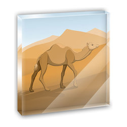 "Made on Terra - Camel Walking Through Desert Mini Desk Plaque and Paperweight - You glance over at your miniature acrylic plaque and your spirits are instantly lifted. It's just too cute! From it's petite size to the unique design, it's the perfect punctuation for your shelf or desk, depending on where you want to place it at that moment. At this moment, it's standing up on its own, but you know it also looks great flat on a desk as a paper weight. Choose from Made on Terra's many wonderful acrylic decorations. Measures approximately 4"" width x 4"" in length x 1/2"" in depth. Made of acrylic. Artwork is printed on the back for a cool effect. Self-standing."