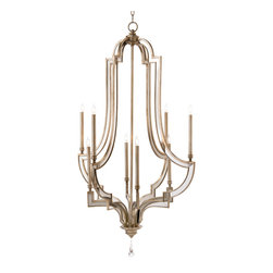 Kathy Kuo Home - Angelica Hollywood Regency Antique Silver Mirror 8 Light Chandelier - Royally glamorous, this oversized, bell-shaped beauty lights up the room with eight candle-shaped fixtures. The antique silver finish details each curve of this architecturally elegant chandelier. The adjustable chain and canopy create the perfect placement of light for your room.