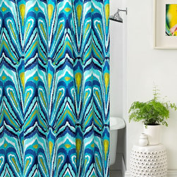 Trina Turk Bath, Blue Peacock Shower Curtain - This would be a fun addition to my children's shared bathroom. The bits of bright, happy color make for a very casual and fun look.