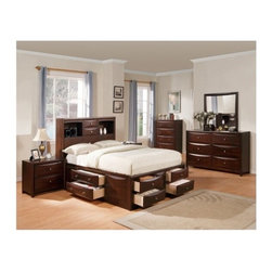 "Acme - 5 PC Manhattan Collection Espresso Finish Wood Queen Captains Bookcase Headboard - 5-Piece Manhattan collection espresso finish wood queen captains bookcase headboard bedroom set with storage drawers underneath. This set includes the queen bed set, one nightstand, dresser, mirror and chest. Queen captains bed features a bookcase headboard with storage drawers underneath. Nightstand measures 20"" x 17"" x 26"" H. Dresser measures 53"" x 17"" x 34"" H. Mirror measures 31"" x 38"" H. Chest measures 36"" x 17"" x 48"" H. Some assembly may be required. Cal king and Eastern king available at additional cost."