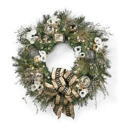"""Frontgate - Regency Pre-decorated Christmas Wreath - High-quality artificial greenery realistically replicates juniper and pine. Art deco-inspired embroidered ribbon and metallic glass ornaments. Wreath, garland and swag are pre-decorated with clear lights. Coordinates with our Regency 60-Piece Ornament Collection. Centerpiece comes with three glass hurricanes that each hold a 4"""" dia. candle (not included). Effortlessly drape your home in glamorous Hollywood Regency style. Our Regency Pre-Decorated Greenery is filled with opulent yet classic details, including anemone blooms bearing a unique black beaded center and picks accented with bells and crystals. The collection's art deco nuance shines through in the palette of vintage white and black, accented by soft dove-gray.  .  .  .  .  . Items arrive fully assembled; may require some shaping after unpackaging . Recommended for indoor use only . 36"""" cords . Additional ribbon not available separately."""