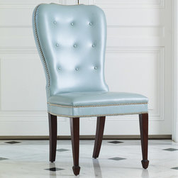 "Global Views - Global Views Furniture Charleston Blue Chair - Impeccable attention to quality, detail and the exclusive use of natural materials provide Global Views products an allure all their own. In an inviting light blue colorway, the Charleston chair's classic silhouette is made fresh for the transitional dining room. Nickel tacks embellishments trim the tufted leather seat for a metallic shine, while rich walnut-finished legs exude warm sophistication. 20""W x 21""D x 41""H. Seat: 17.5""H."