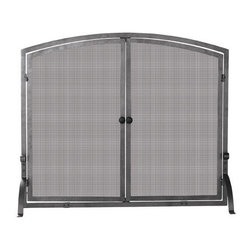 Olde World Iron Fireplace Screen with Doors - The simple lines of this fireplace screen add a touch of sophistication, while the access doors add convenience to your fireplace.