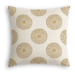 Light Green Sunburst Block Print Custom Euro Sham - The secret to those perfectly made beds you eye in magazines? Euro shams. Complete your bed set with a set of Simple Euro Shams for a look that's as stylish as it is snuggly.  We love it in this blockprint sunburst medallion in curry yellow on lightweight cream cotton.  A touch of India for the free spirited nomad in you.