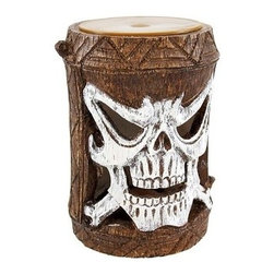 Friki Tiki Flashing Skull Outdoor Accent Light - This cool Friki Tiki Halloween Luminary flashing garden light is perfect for adding some pathway light to your garden or landscaping. It attaches to the top of fence posts, can stand on its own for use as a table light, or, attach the extension poles and use it like a tiki torch. The light turns on automatically at the same time every day, flashing yellow and white LED lights, and runs for 6 hours before automatically turning off. Made of cold cast resin, the light measures 6 inches tall, 4 inches in diameter.  The open skull face is hand-painted with white enamel, so it will look just as good in the daylight as it does at night. It`s great for anyone with a tiki bar.