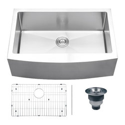 Ruvati - Ruvati RVH9200 Apron Front  Kitchen Sink - Elegant, apron-front farmhouse kitchen sinks are a bold addition to any kitchen. Deep, rectangular Kitchen Sinks with bottom drain grooves and a curved apron front define the Verona series.