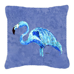 Caroline's Treasures - Flamingo on Slate Blue Fabric Decorative Pillow - Indoor or Outdoor pillow made of a heavy weight canvas. Has the feel of Sunbrella fabric. 14 inch x 14 inch 100% Polyester Fabric pillow Sham with pillow form. This pillow is made from our new canvas type fabric can be used Indoor or outdoor. Fade resistant, stain resistant and Machine washable.