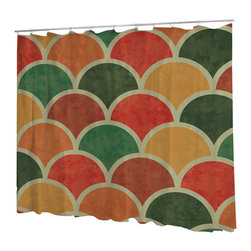Uneekee - Uneekee Color Shingles Shower Curtain - Your shower will start singing to you and thanking you for such a glorious burst of design as you start your day!  Full printing on the front and white on the back.  Buttonhole openings for shower rings.