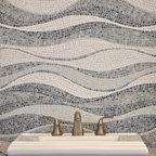 Mirage Stone Mosaic - Mirage, a custom hand chopped tumbled natural stone mosaic backsplash, is shown in Kay's Green, Celeste, Thassos, Blue Macauba, Blue Bahia, Ming Green, Travertine White and Verde Luna.