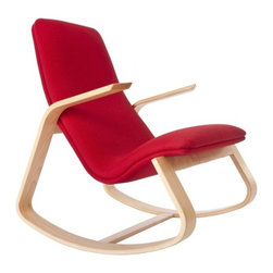 Rapson-Inc. - Rapid Rocker - Natural Maple, Red Fabric - Based on drawings first done by Ralph Rapson in 1939 and reissued by Rapson Architects under Ralph's direction before he died, the Rapson Rapid Rocker remains as comfortable as it is striking after 70+ years. The strong maple-ply frame provides a smooth rock and the sculpted, cantilevered arms make the chair look like it is about to take flight. Your back and neck will appreciate the double-backed, foam-cushioned, form-fitting seat. Whether in the nursery, by the hearth, or in the living room, it's often called the most comfortable seat in the house.