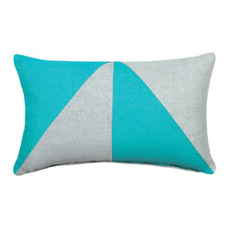 "LaCozi - ""Bello"" Aqua Jacquard Oblong Pillow - Add a graphic pop of color to your sofa or chair with this contemporary accent pillow.  Double-stitched seams and reinforced stress points provide durable construction that will last you for years, while the easy-to-remove feather insert makes cleaning a snap."