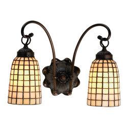 Meyda - 14.5 Inch W Beige Geometric 2-Light Wall Sconces - Color theme: Beige mahogany bronze