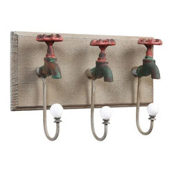 Iron Faucet Wall Hooks - This is a fun set of hook that uses clever materials. I think it would look great in a mud room or potting shed.