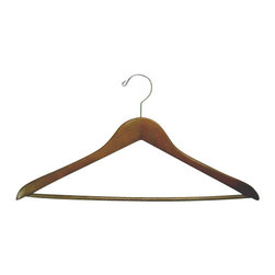 Proman - Gemini concave Suit Hanger with Wooden Bar - Gemini-concave suit hanger with wooden bar, light walnut, chrome, 50pcs/ctn. Concave suit hanger. W/ wooden bar with chrome hardware.