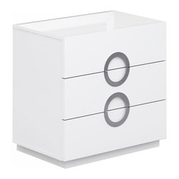 White Line Imports - Eddy Single Dresser in High Gloss White - Perfect for small bedrooms, this single dresser from Eddy collection comes with 3 roomy drawers, stainless steel handles and Full Extension hardware. Finished in High Gloss White.