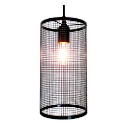 URBAN PORT.. HANGING PENDANT LIGHT CAGE WITH EDISON BULB - Modern, unique, and refined is the highlights of this hanging light.
