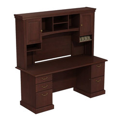 """Bush - Bush Syndicate 72"""" 2-Pedestal Desk with Hutch in Hansen Cherry - Bush - Computer Desks - SYN006CS - Syndicate fits comfortably in traditionally styled work environments no matter where they may be. Combining classic design elements its small footprints are appropriately scaled for serious home offices. Syndicate Line Harvest Cherry 72""""W x 30""""D Double Pedestal Desk with Tall Overhead Storage keep you organized in style. Right sized for serious home and corporate offices where space is tight the Double Pedestal 72""""W Desk offers ample work surface and storage. Includes two box drawers for supplies plus one file drawer for letter- legal- or A4-size files on left and two file drawers on right pedestal. Solid sturdy 1""""-thick work surface looks good for years resists stains and scratches. Integrated 4-port USB hub in Desk surface connects electronic devices to laptops or PCs. 72""""W Overhead scoops up desk clutter. Integrated open-and-closed storage cabinet has two raised panel doors plus cubbies and cubicles hold work in progress. Convenient angled shelf makes charging electronic devices neat and contained. Multiple storage options improve work process organization. Desktop and Overhead wire management grommets provide easy access to concealment of cords and cables. Includes Bush 10-year warranty."""