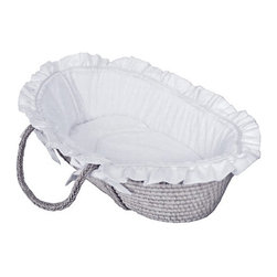 Hoohobbers - Hoohobbers Moses Basket - White Pique - 316-05 - Shop for Moses Baskets from Hayneedle.com! Stunning in its purity safe and snug in its design the Hoohobbers Moses Basket in White Eyelet is a heavenly place for your baby to slumber. Bassinet-style Moses baskets are a traditional convenient space for newborn babies until they begin to turn over. The comfy oversized basket is made of natural woven fibers with soft 100 percent cotton bedding in Hoohobbers' white pique fabric. Hoohobbers' Platinum Award Moses baskets look new wash after wash. The basket's bumper cushion retains its original shape because the duvet design allows you to remove the inserts before washing. If needed however the inserts are machine-washable. The Moses basket includes a sheet and bumper cushion plus a double-sided blanket made of designer fabric backed in cotton flannel. The bedding is machine-washable and air drying is recommended. Please note that Moses baskets are not intended for carrying babies. Dimensions: 32L x 20W x 11H inches. About HoohobbersBased in Chicago Hoohobbers has designed and manufactured its own line of products since 1981 beginning with the now-classic junior director's chair. Hoohobbers makes both hard goods (furniture) and soft goods. Hoohobbers' hard goods are not your typical furniture products; they fold are lightweight and portable and are made to be carried by children all around the house. Even outdoors Hoohobbers' hard goods are 100 percent water-safe. At the same time they are plenty durable and can take the abuse children often give. Hoohobbers' soft goods are fabric items ranging from bibs to bedding from art smocks to Moses baskets. Hoohobbers' products are recognized by independent third parties for their quality and performance. Hoohobbers has received Best Design Awards from America's Juvenile Products Association each time selected from more than 20 000 products. Hoohobbers has also received the Parents' Choice Award and no Hoohobbers produc