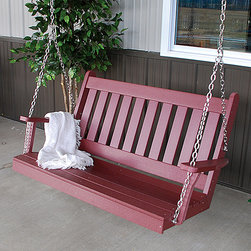 A&L Furniture - Cherry Wood Traditional English Swing - Add a touch of classic comfort to any porch with this traditional swing. It's durably constructed from poly wood and boasts a weather-resistant finish that ensures plenty of relaxing outdoors.   Includes swing and adjustable chains Weight capacity: 500 lbs. 27'' H x 27'' D Recycled plastic Assembly required Made in the USA