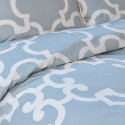 Geometric Print Duvet Cover, The Noe Dusk Blue - This dusk blue and white Moroccan-inspired quatrefoil printed duvet has geometric sophistication.  300-thread count luxurious cotton with finishing details of edge piping, interior corner ties and zipper enclosures