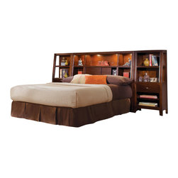 American Drew - American Drew Tribecca 3-Piece Bookcase Bedroom Set in Root Beer Color - The Tribecca mixes it up with modern, Art Deco, and Asian influences. Lighter scaled, with classic clean lines and pared down forms, Tribecca's inviting textures, rich wood tones and nickel finish hardware could be just the fresh look you've been trying to imagine for the new retirement condo on the shore or a trendy city loft.