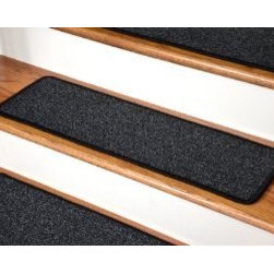 "Dean Flooring Company - Dean Premium New Zealand Wool Carpet Stair Treads - Monet Night Sky (13) 30"" x 9 - Dean Premium New Zealand Wool Carpet Stair Treads - Monet Night Sky (13) 30"" x 9"" : Premium Wool Carpet Stair Treads by Dean Flooring Company Color: Monet Night Sky (Black) Material: 80% New Zealand Wool and 20% Cotton. Edges: Finished (serged) with attractive color matching yarn. The size of each tread measures approximately 30"" x 9"". Easy to spot clean and vacuum. Helps prevent slips on your hardwood stairs. Great for helping your dog easily navigate your slippery staircase. Reduces noise. Reduces wear and tear on your hardwood stairs. Attractive: adds a fresh new look to your staircase. Easy DIY installation with double sided carpet tape or (not included - sold separately). WOOL is the traditional fiber used to make rugs, and it's no big mystery why. Besides being luxurious to the touch, wool can be dyed to beautiful rich colors, is fire-resistant, stain resistant, non-allergenic and holds up well over time. Also, wool is biodegradable and a renewable resource, making it a green choice as well as an elegant one. Add a touch of warmth and style to your home today with stair treads from Dean Flooring Company!"