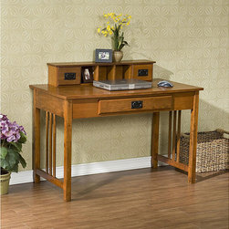 Upton Home - Upton Home Mission Oak Work Desk - This beautiful work desk will surely be a great addition to any home or office. The desk features a pull out keyboard drawer for easy typing. It also has a built-in organizer to insure that you can always find items you need quickly.