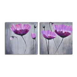 Ethereal pink blooms Hand Painted 2 Piece Canvas Set - Blossoming beauties. These gorgeous flowers are hand painted by the artist for one-of-a-kind character. It's the perfect piece to add to your ever-growing art collection.
