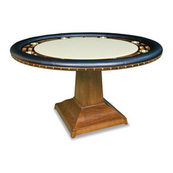 California House - robie 60-in professional poker table - These solid hardwood tables are custom-crafted in the US in maple with your choice of four wood finishes and four felt colors. A ring of eight (8) cupholders and carved chipwells line the felt gaming surface and is surrounded by a padded, synthetic leather elbow rest.