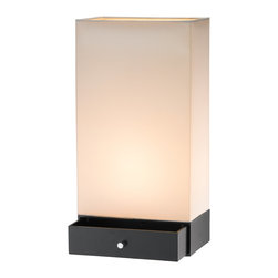 """Adesso Inc. - Parker Table Lantern - Rectangular shaped table lantern has a storage drawer built into its base. Off-white rectangular shade. Line switch. 60 Watt incandescent or 13 Watt CFL bulb. 20"""" Height, 10.25"""" Width, 6.25"""" Depth. Drawer: 2.25"""" Height )inside dimensions: 9"""" Width, 5.5"""" Depth). Shade: 17"""" Height: base: 3"""" Height."""