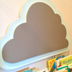 Cloud Chalkboard with Aqua Border by Shonna Ridgeway - This playful cloud has double purposes. First and foremost, it's a chalkboard. And second, it stands 1¼ inches off the wall and is designed to hide the cords and/or outlets behind it. Genius!