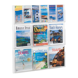 """Safco - Reveal 6 Magazine and 6 Pamphlet Display - Clear - Think outside the box by looking in! Reveal design displays literature clearly. Each pocket holds 1-3/4"""" of printed material. Thermoformed one-piece units have no sharp edges or corners. The displays are wall mountable with hardware included. Wire partition hangers fit all Reveal Displays. Optional Floor Stand (5619BL) fits models 5603CL, 5604CL, 5605CL, 5606CL and 5607CL.; Features: Material: PETG-Plastic; Color: Clear; Finished Product Weight: 11 lbs.; Assembly Required: No; Tools Required: No; Limited Lifetime Warranty; Dimensions: 30""""W x 2""""D x 34 3/4""""H"""