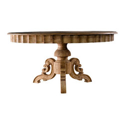 Curations Limited - Weathered Oak Large French Round Dining Table -