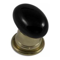 rchsupplyco - OBSIDIAN OVAL DOOR KNOB - Description: Obsidian Oval Knob shown with Bel (1B) Polished Brass Rose