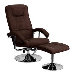 Flash Furniture - Contemporary Brown Microfiber Recliner and Ottoman with Chrome Base - This overstuffed microfiber recliner will look great in any room in the home or office. This set features plush padding throughout the chair and ottoman as well as sleek chrome bases. The microfiber material easily cleans with a damp cloth.