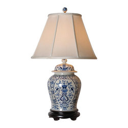 "Lamps Plus - Asian English Blue and White Porcelain Temple Jar Table Lamp - This exquisite table lamp looks great in a living room or bedroom and is perfect for traditional or Asian-themed decors. It features a grand porcelain temple jar base decorated in a striking and intricate blue and white English pattern. An off white empire shade sits on top. A three-way socket gives you more lighting control. Porcelain base. English pattern. Off white empire shade. Takes one 100 watt 3-way bulb (not included). 30"" high. Shade is 9"" across the top 18"" across the bottom 13 1/2"" high.  Porcelain base.   English pattern.   Off white empire shade.   Takes one 100 watt 3-way bulb (not included).   30"" high.   Shade is 9"" across the top 18"" across the bottom 13 1/2"" high."